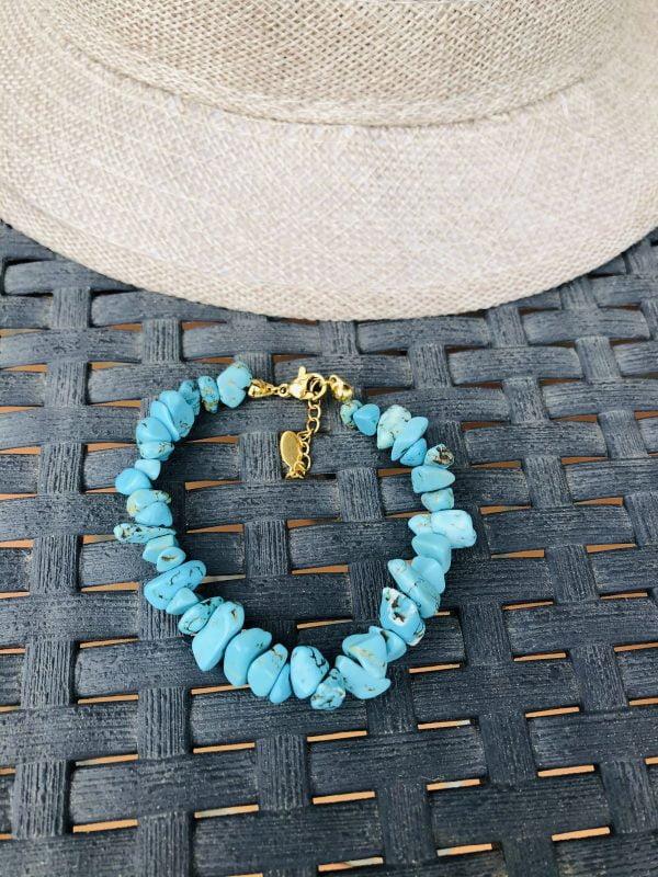 Bracelet chips couleur turquoise